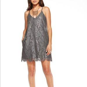 Chaser brand metallic lace straps dress CREAM